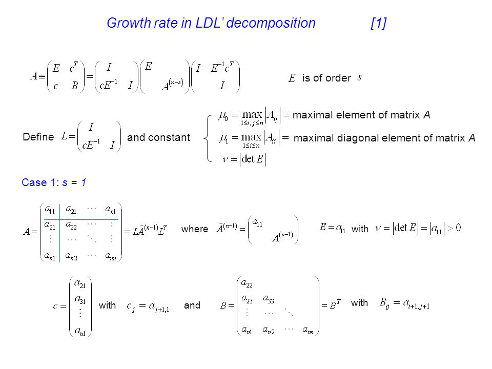 Growth rate in LDL' decomposition [1]
